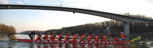 DragonBoat rowing along the Desna river